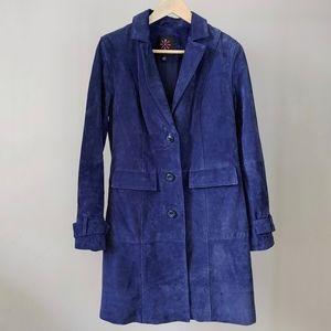 Isaac Mizrahi Live Suede Leather Car Coat Size 4 Navy Blue